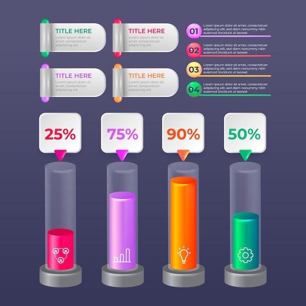 3d концепция глянцевый инфографики Бесплатные векторы