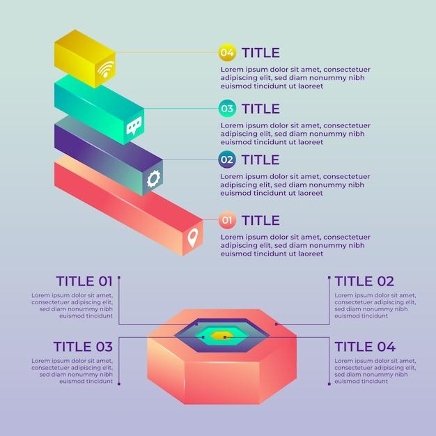 3d глянцевый дизайн инфографики Бесплатные векторы