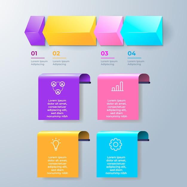 Красочная 3d глянцевая инфографика Бесплатные векторы