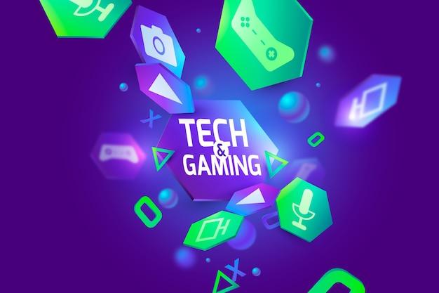 3dテクノロジーとゲームの背景 無料ベクター