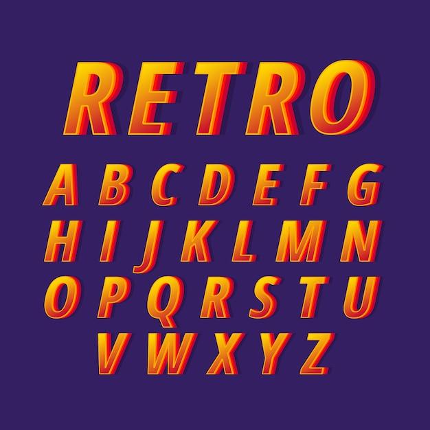 3d ретро дизайн для алфавита Бесплатные векторы