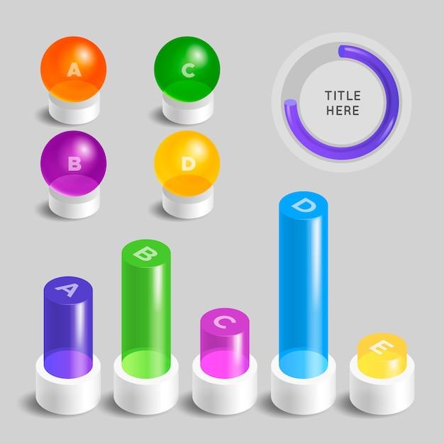 3d глянцевая подробная инфографика в разные цвета Бесплатные векторы