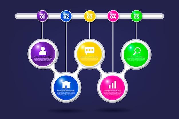 3d глянцевая инфографика Бесплатные векторы