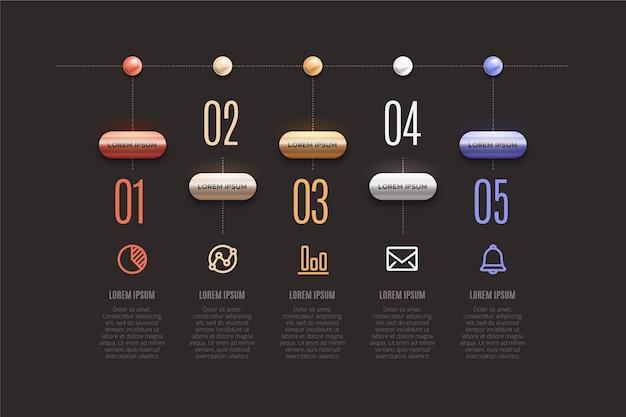 Хронология инфографики 3d глянцевый дизайн Бесплатные векторы