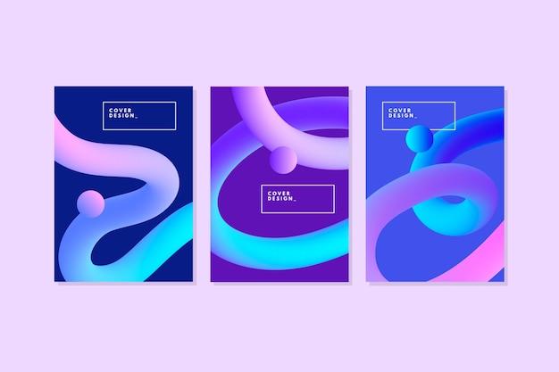 Градиент 3d пышные линии абстрактные обложки Бесплатные векторы