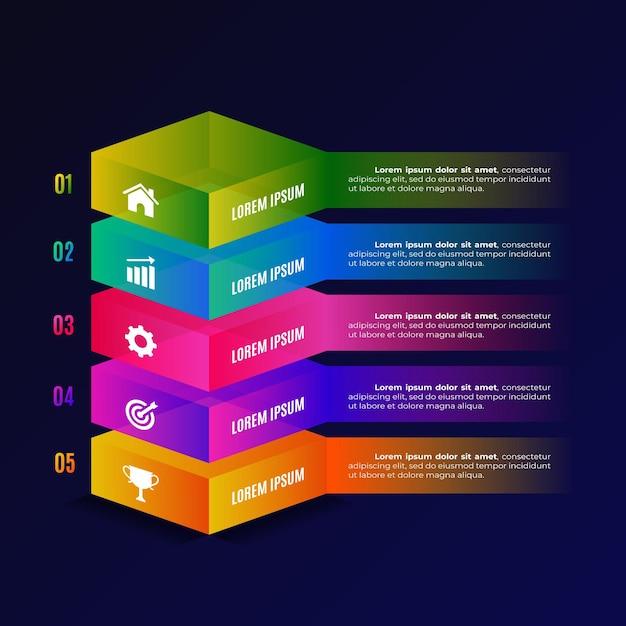 3d блок слоев инфографики Бесплатные векторы