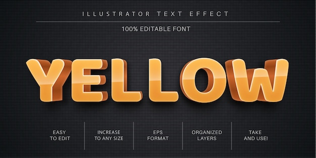 3d желтый редактируемый текстовый эффект Premium векторы