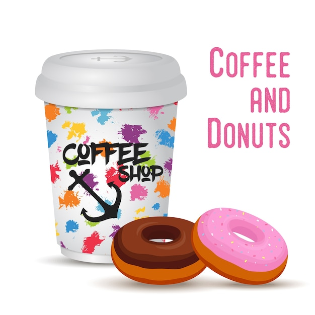 ドーナツの3d現実的なコーヒーマグ Premiumベクター