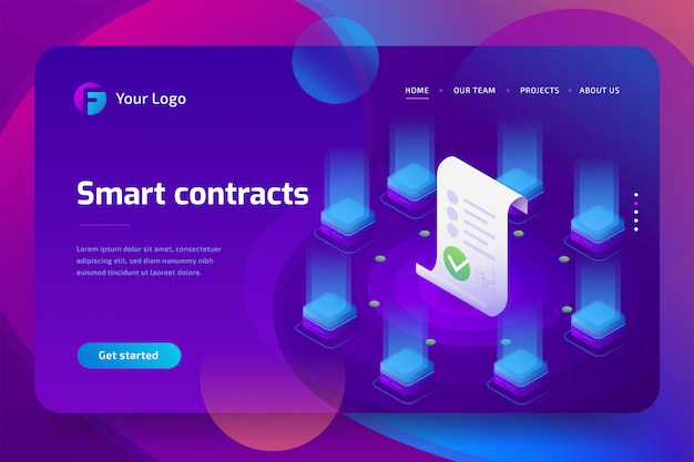 Блокчейн, умная концепция контракта. интернет бизнес с цифровой подписью. 3d изометрические иллюстрация. шаблон целевой страницы Premium векторы
