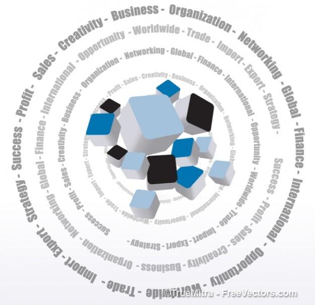 ビジネス用語と3dカラーボックス 無料ベクター
