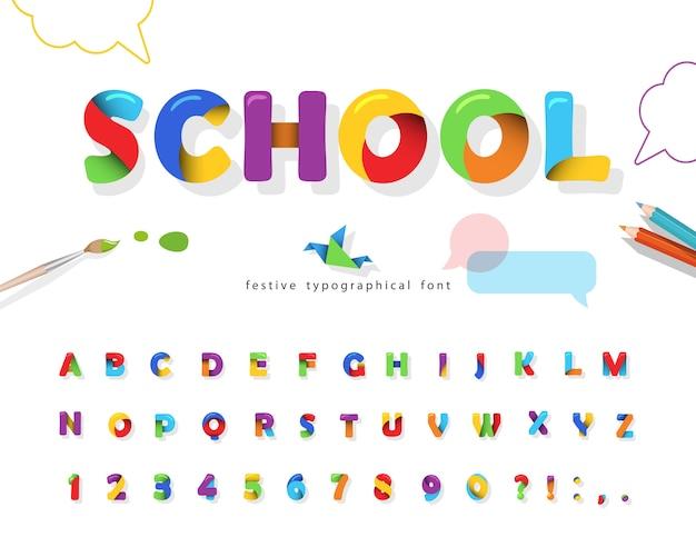 Школа 3d головоломки шрифта. красочный алфавит для детей. Premium векторы