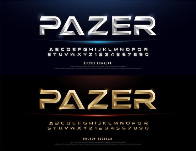 Элегантный серебряный и золотой 3d металлический шрифт с алфавитом Premium векторы