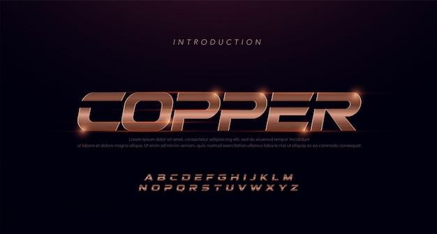 Спорт современный курсив алфавит медный шрифт. типография 3d из нержавеющей стали с медными линиями Premium векторы