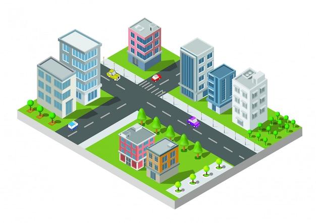 Изометрические городской застройки вектор. город на дворе с дорогой и деревьями. мост через реку. шикарный город и общественный парк. строительство 3d, автомобили, столица, вектор офис и концепция мегаполиса. Premium векторы