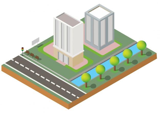 Изометрические здания. два здания на дворе с дороги. здание 3d, умный город, офис и городская квартира. Premium векторы