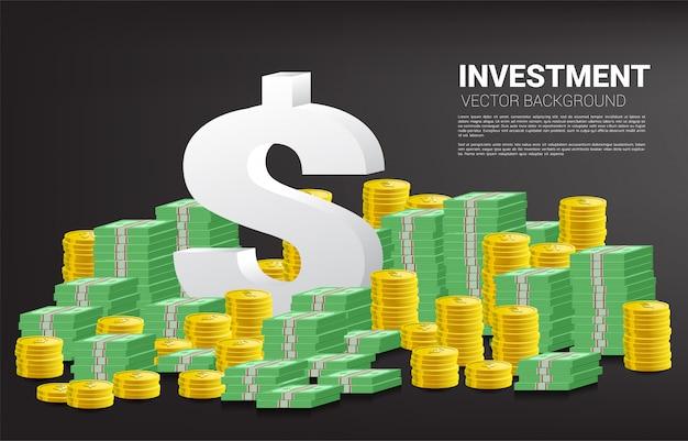 3d значок валюты доллар со стеком монеты и банкноты Premium векторы