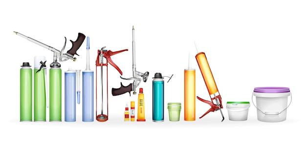 建築用泡、シリコーンシーラント、3d現実的な容器の塗料と接着剤 無料ベクター