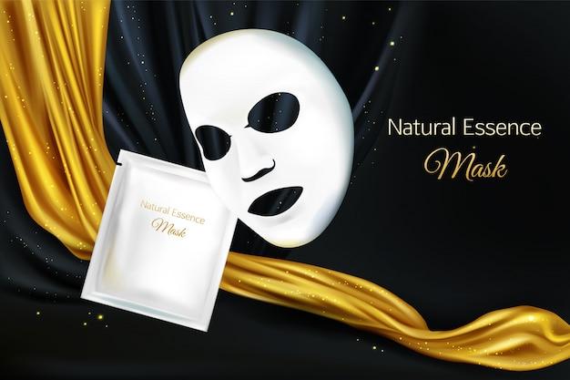 Векторные 3d реалистичные макет из белого листа косметическая маска для женщин Бесплатные векторы