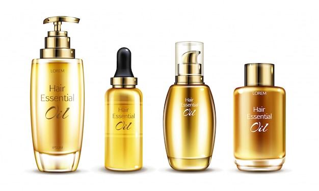 Вектор 3d реалистичные сущность в золотой стеклянной бутылке с насосом дозатором. сыворотки для волос в различной упаковке Бесплатные векторы