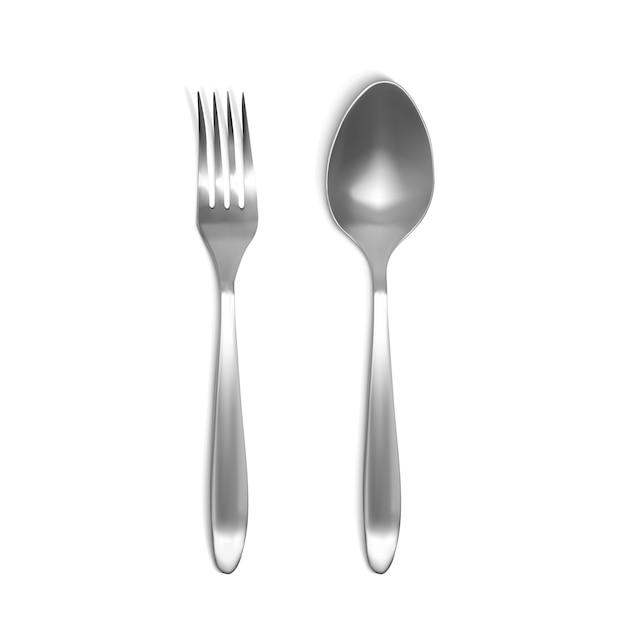 スプーンとフォークの3dイラスト。シルバーまたは金属の食器の分離現実的なセット 無料ベクター