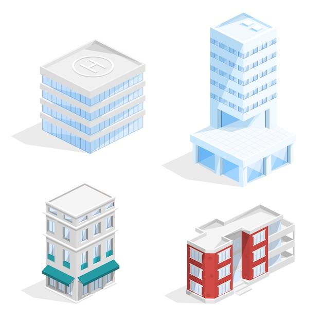都市の建物アイソメ3dイラスト 無料ベクター