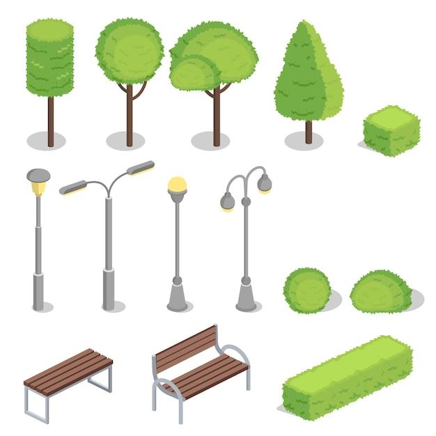 Элементы парка 3d изометрические иллюстрации Бесплатные векторы