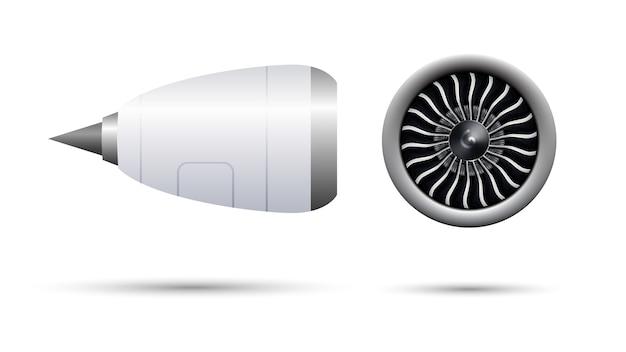 飛行機の現実的な3dターボジェットエンジン Premiumベクター