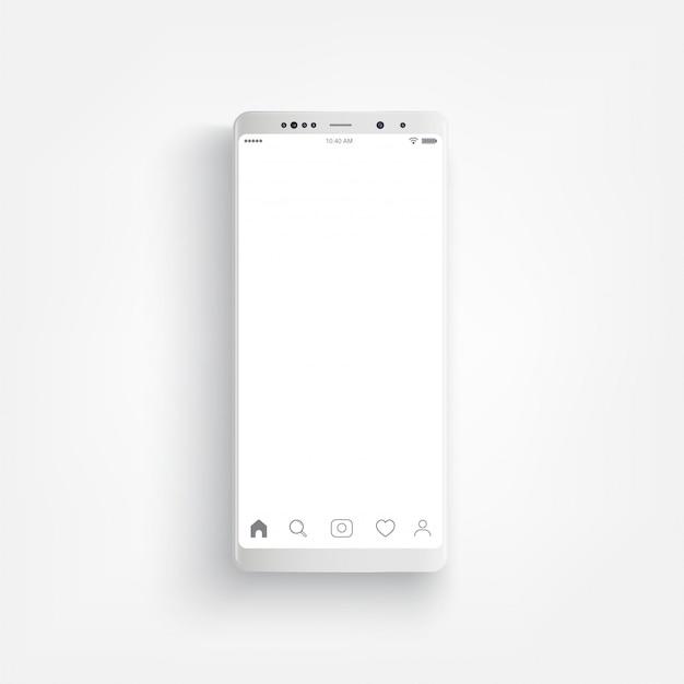 Современный реалистичный белый смартфон. смартфон с боковой стиль, 3d векторные иллюстрации сотового телефона. Premium векторы