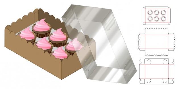 Кекс коробка упаковки высечки шаблон дизайна. 3d макет Premium векторы