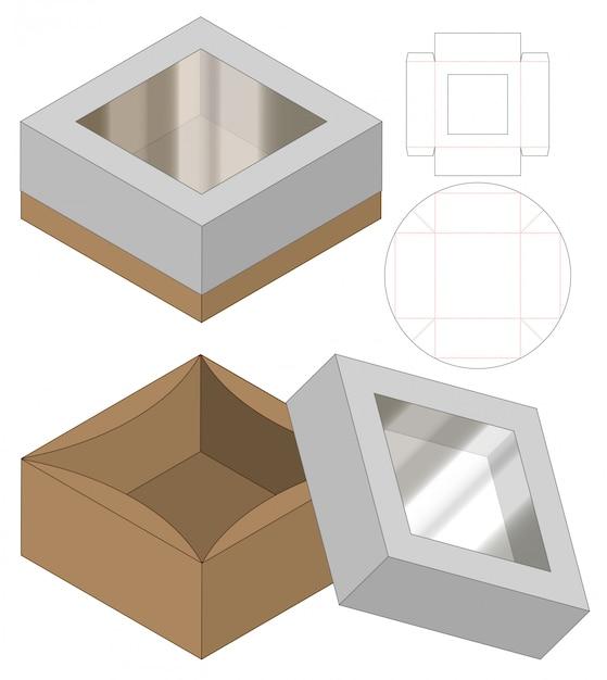 Коробка упаковочная высечки шаблон дизайна. 3d Premium векторы