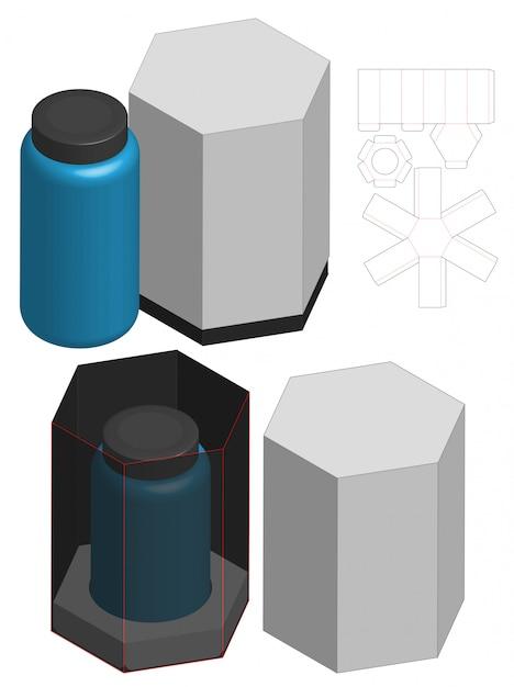 背の高い箱包装ダイカットテンプレートデザイン。 3dモックアップ Premiumベクター