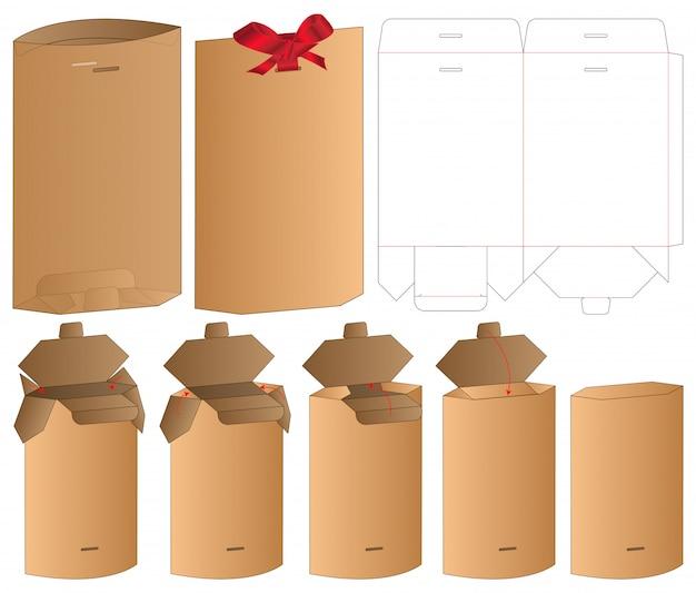 Бумажный пакет упаковки высечки шаблон дизайна. 3d макет Premium векторы