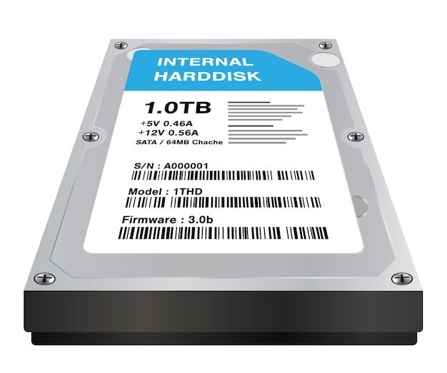 実際の3d内部ハードディスクストレージは、白い背景に Premiumベクター