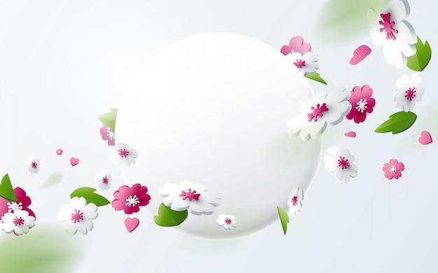 Абстрактные геометрические 3d эффект композиции с фоном весеннего сезона. красочный цветок с круглым баннером Premium векторы