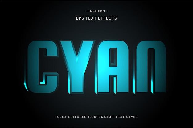 Голубой свет текстовый эффект 3d стиль текста Premium векторы