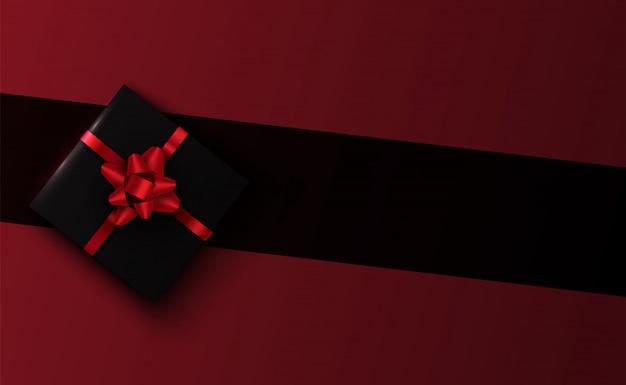 Вектор 3d черная подарочная коробка на фоне линии Premium векторы