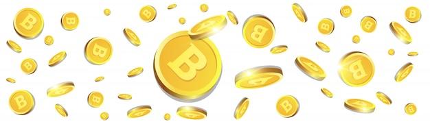 3d биткойны золотые монеты пролетая над белым фоном криптовалюта концепция горизонтальный баннер Premium векторы
