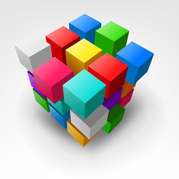 Абстрактный красочный кусок 3d-иллюстрации куба Premium векторы