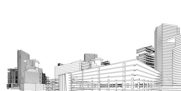 Каркас современной архитектуры. понятие городского каркаса. каркас здания 3d иллюстрации архитектуры Premium векторы