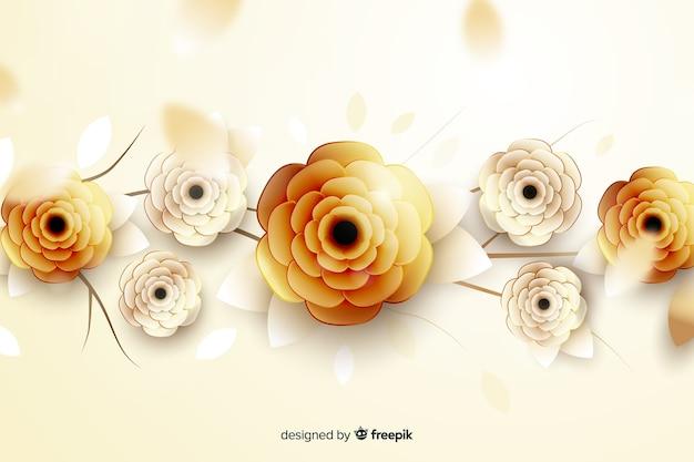 3d золотые цветы фон Бесплатные векторы