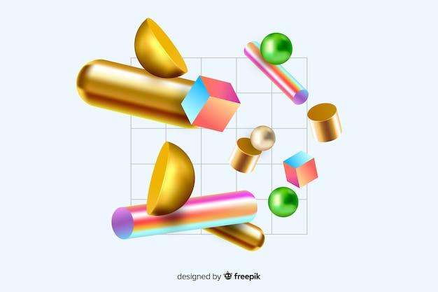 3d効果を備えた反重力幾何学図形 無料ベクター