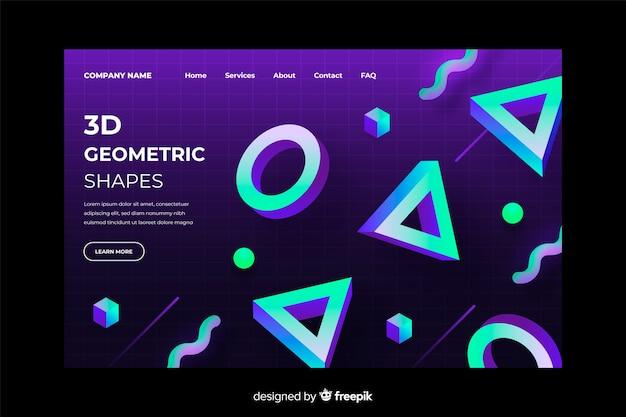 3d шаблон градиентной геометрической целевой страницы Бесплатные векторы