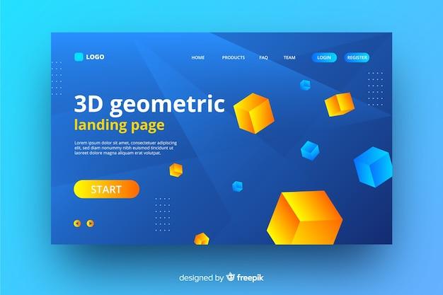 3d幾何学的要素のランディングページ 無料ベクター
