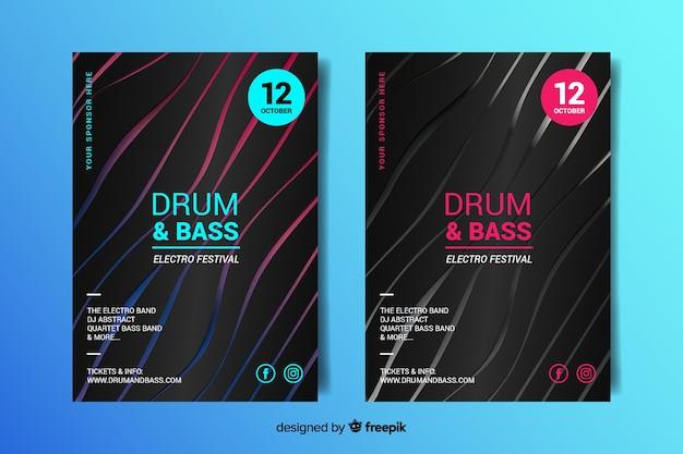 Абстрактные 3d эффект электронной музыки шаблон постера Бесплатные векторы