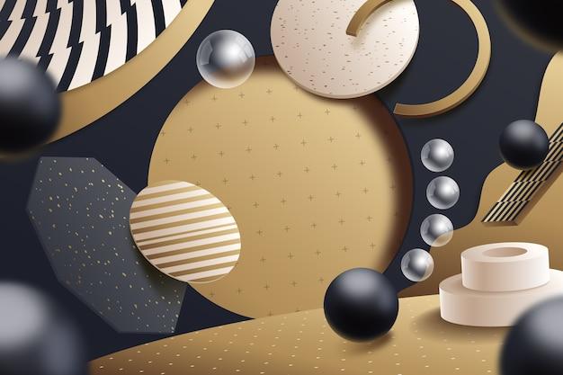 3d ретро геометрический стиль сцены Бесплатные векторы