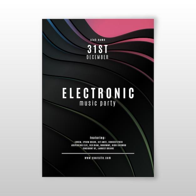 Абстрактный 3d эффект электронной музыки шаблон постера Бесплатные векторы