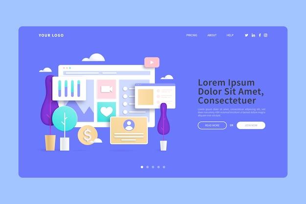 Интернет-покупки из дома 3d концепции целевой страницы Бесплатные векторы
