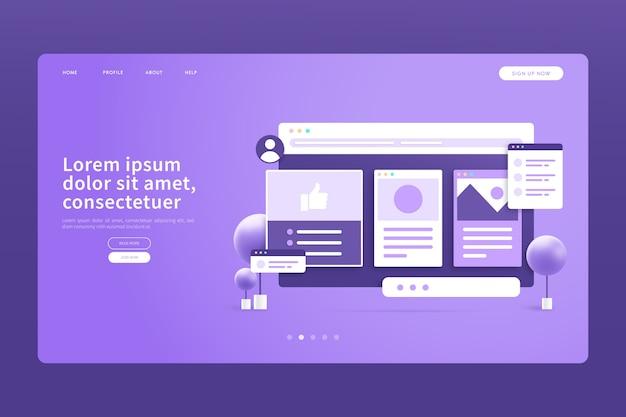 Монохромная фиолетовая 3d концепция целевой страницы Бесплатные векторы