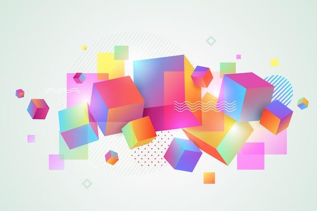 3d красочные слоистые геометрические фигуры для посадочных страниц Бесплатные векторы