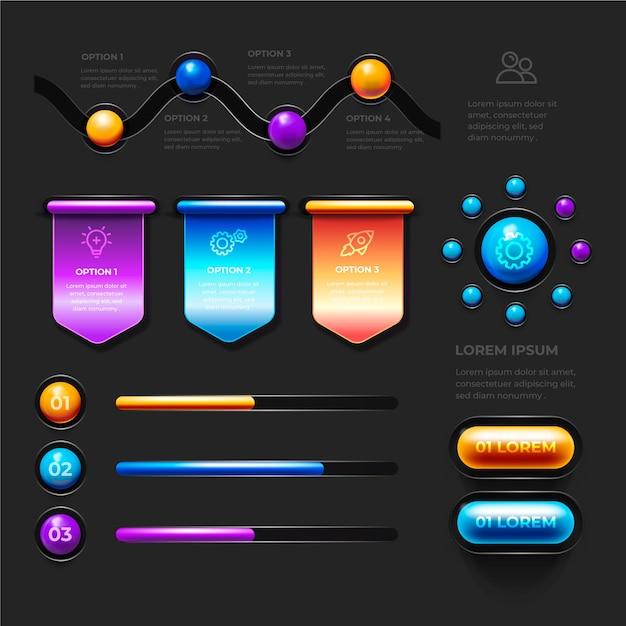 Разнообразие статистических диаграмм 3d глянцевая инфографика Бесплатные векторы